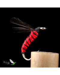 Red Floss Black Rib Aphid Wet Fly
