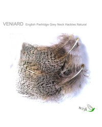 English Partridge Grey Neck Hackles Natural by Veniard