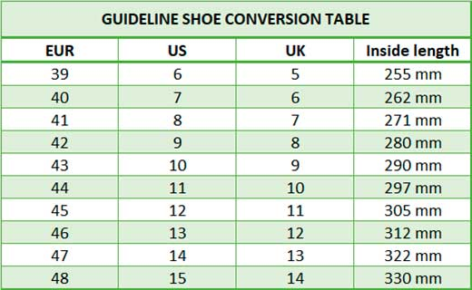 Guideline boots size