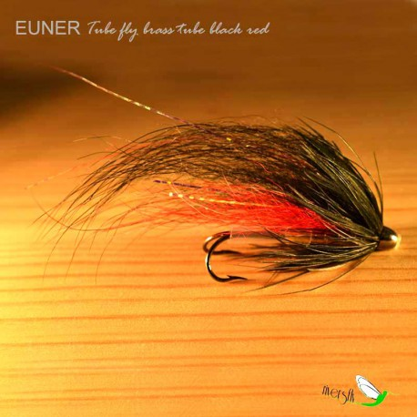Tube fly brass tube black red Salmon Fly by Eumer