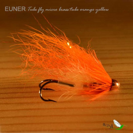 Tube fly brass tube orange yellow Salmon Fly by Eumer