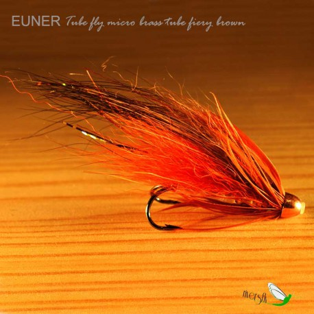 Mouche Saumon Tube fly micro brass tube fiery brown Eumer