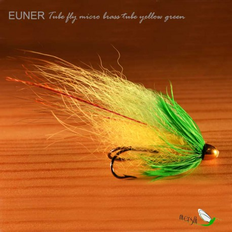 Tube fly micro brass tube yellow green Salmon Fly by Eumer